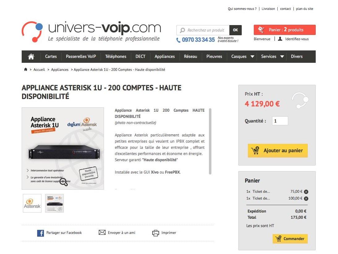 Univers VoIP : page produit appliance
