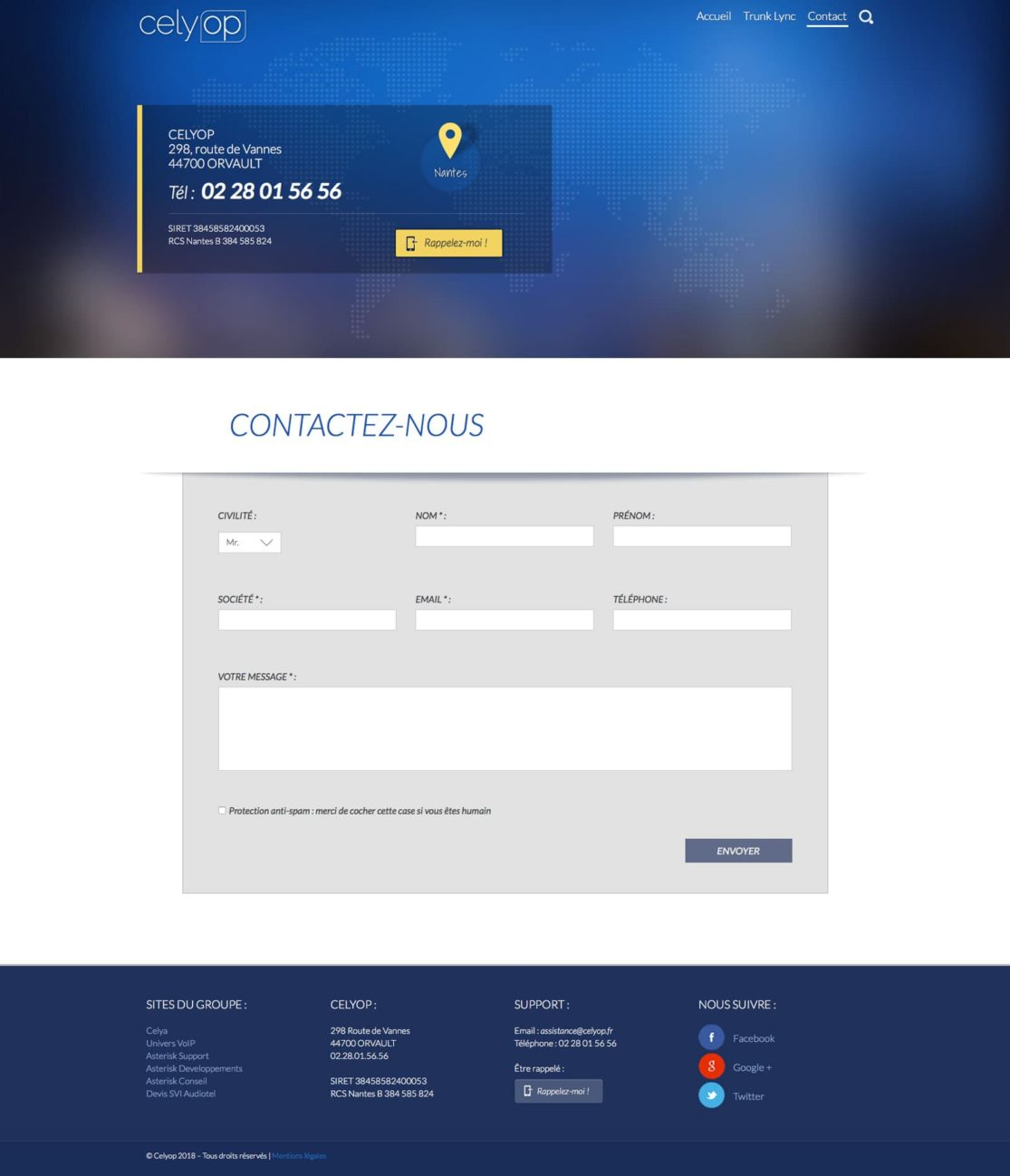 Page contact site Celyop