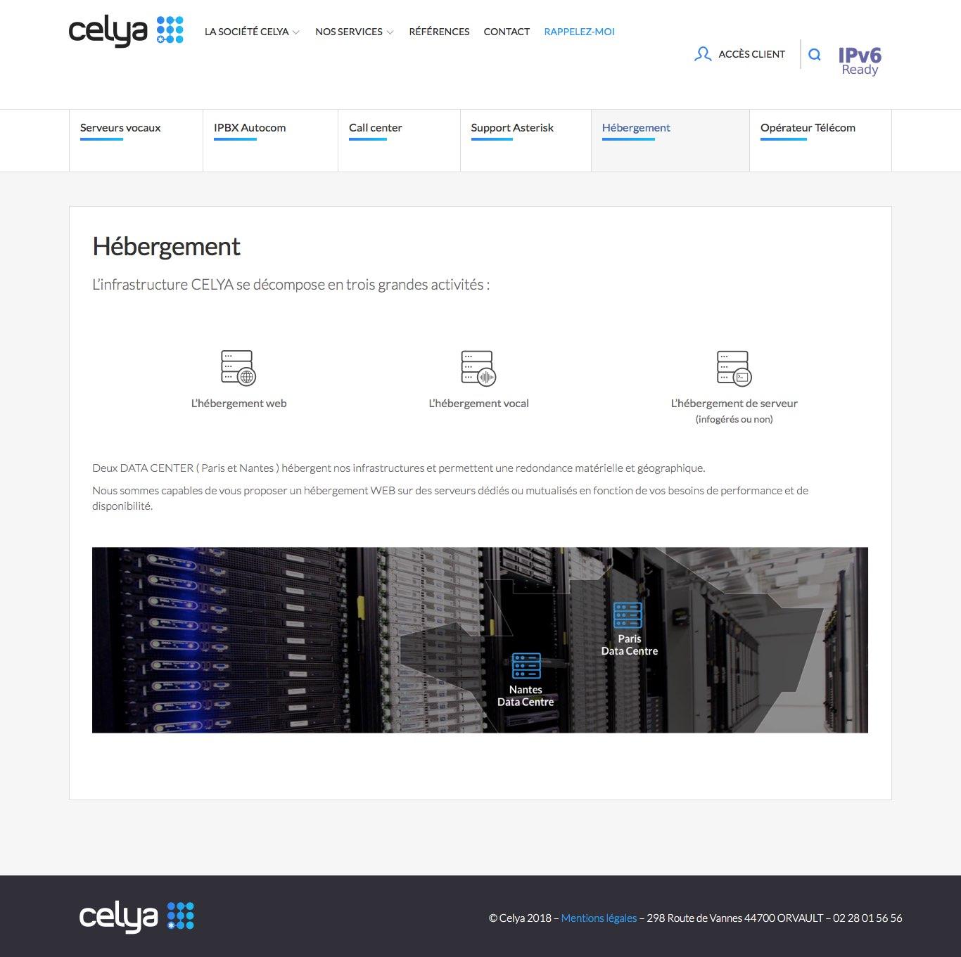 Site Celya page hébergement