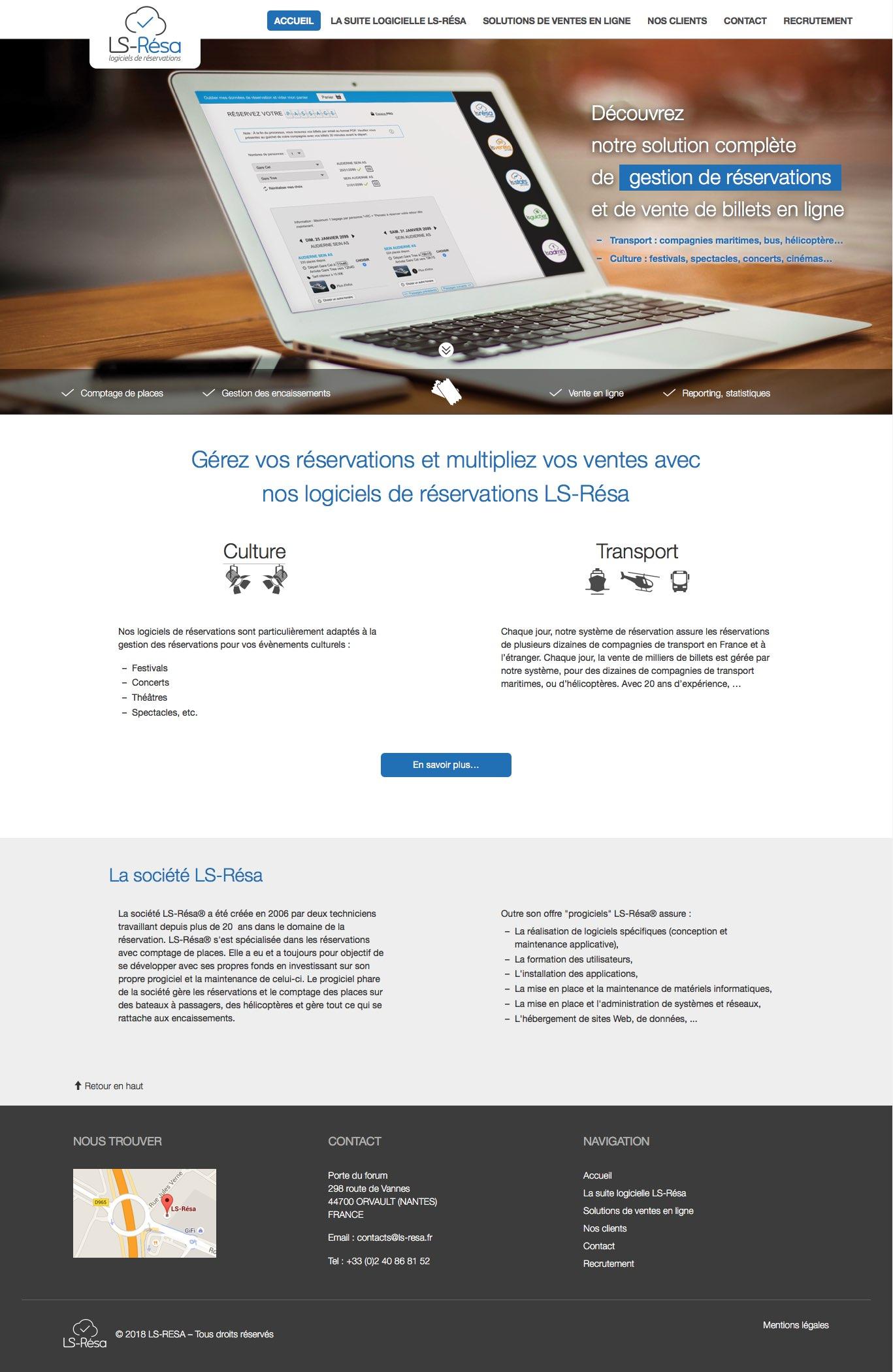 Page d'accueil du site LS Résa