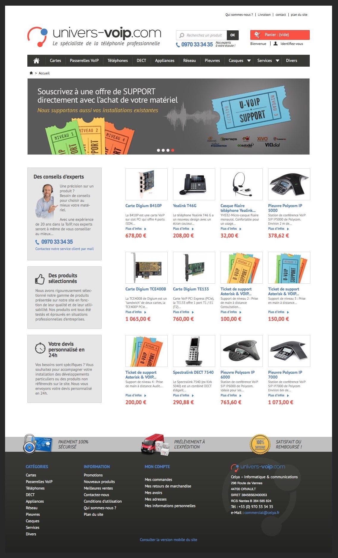 Univers VoIP : page d'accueil