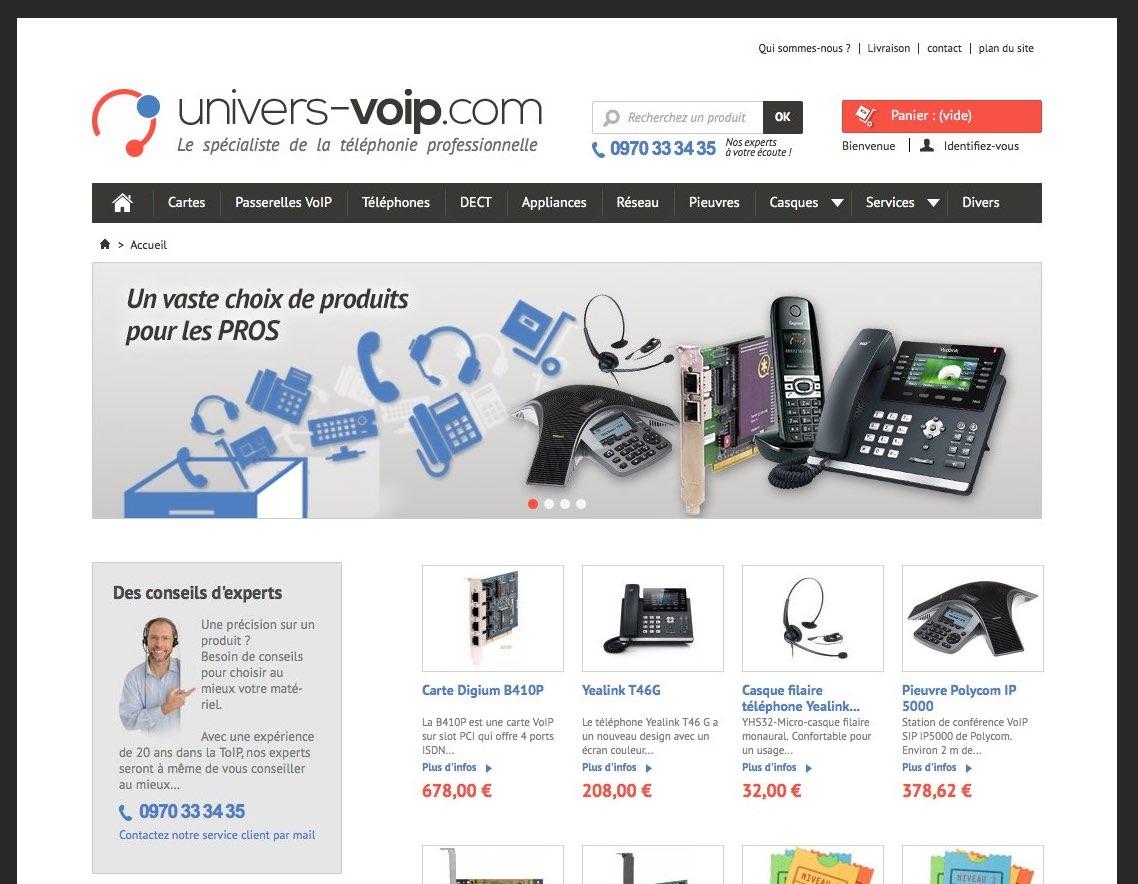 Univers VoIP : détail de la page d'accueil