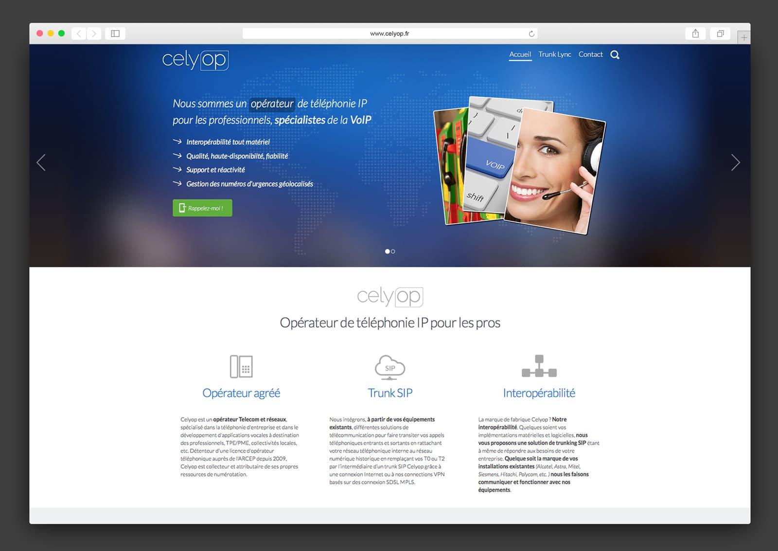Page d'accueil du site Celyop