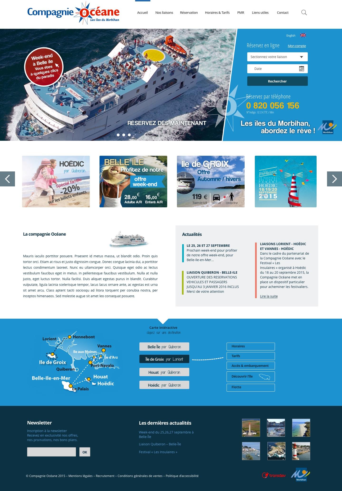 Projet de page d'accueil pour une compagnie maritime