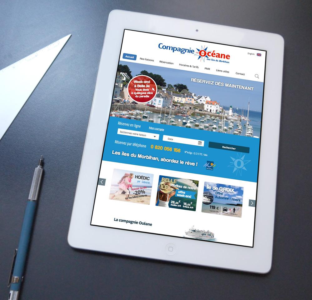 Version tablette du projet graphique pour une compagnie maritime