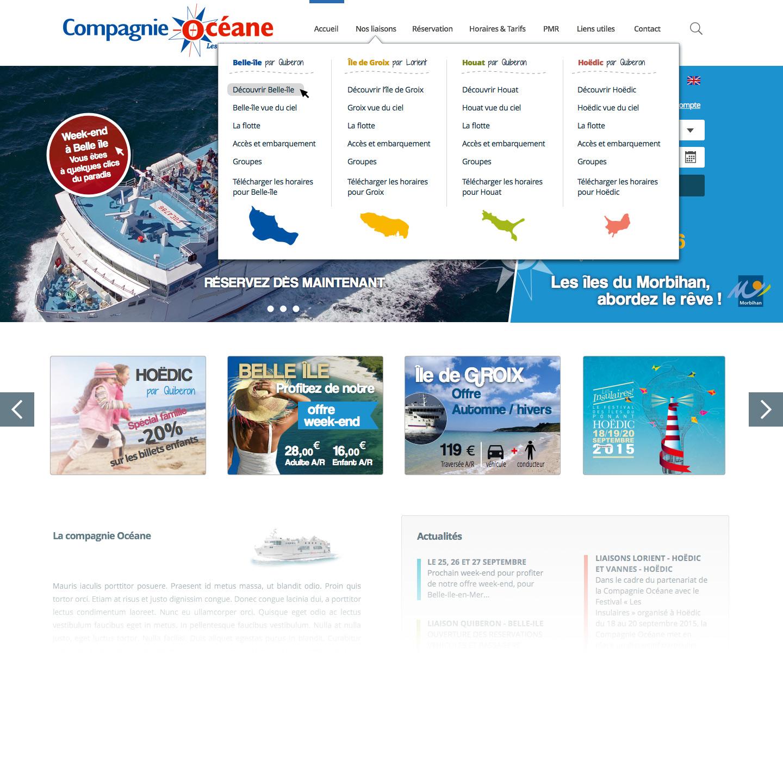 Mega menu pour le projet Compagnie Océane
