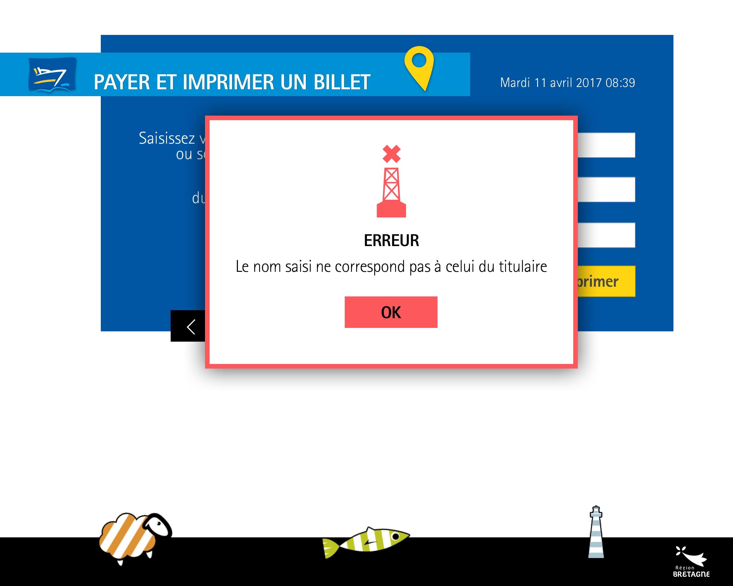 Borne tactile de ventes de billets : écran d'erreur
