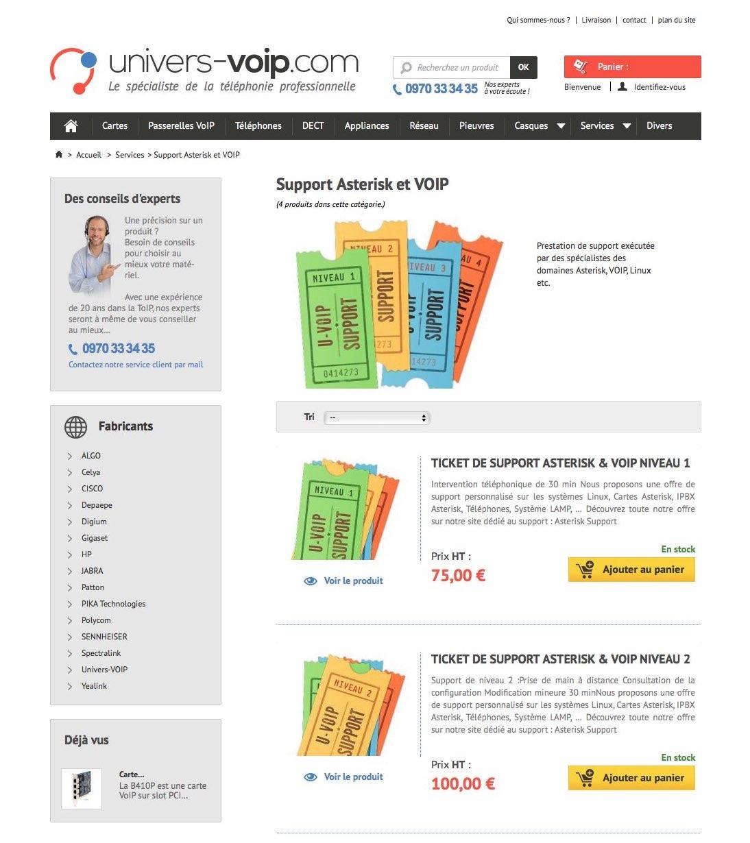 Univers VoIP : page produit, vente de prestations